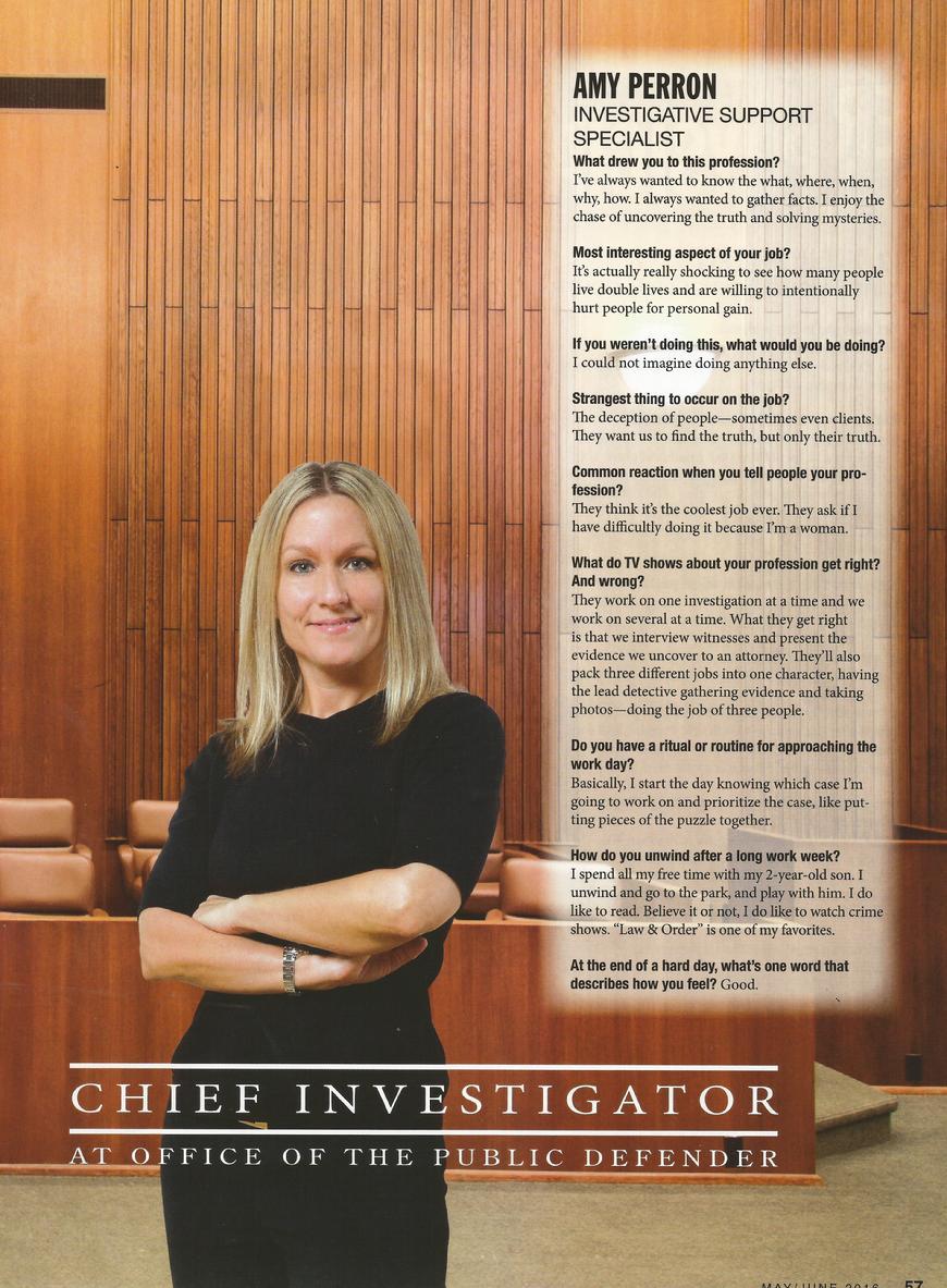 criminal defense investigator and Trainer